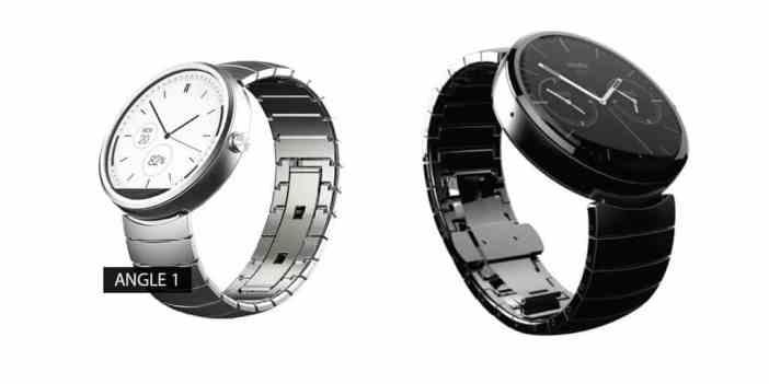 Moto 360 plus curea metalica argintie si Moto 360 plus curea neagra metalica