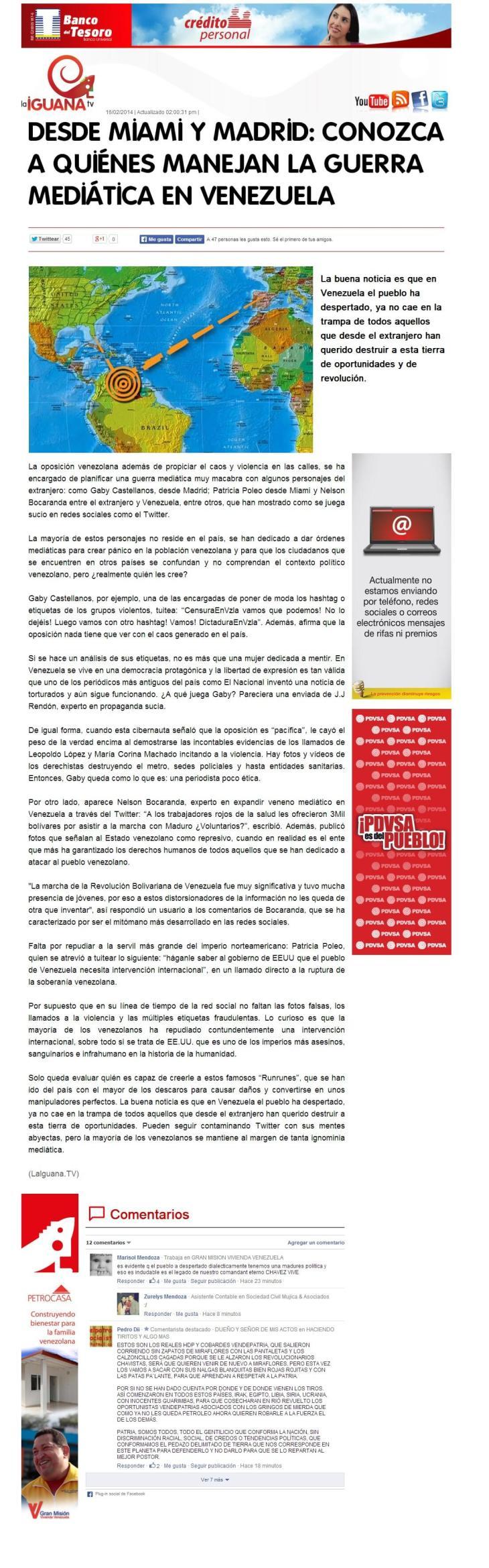 DESDE MIAMI Y MADRID CONOZCA A QUIÉNES MANEJAN LA GUERRA MEDIÁTICA EN VENEZUELA