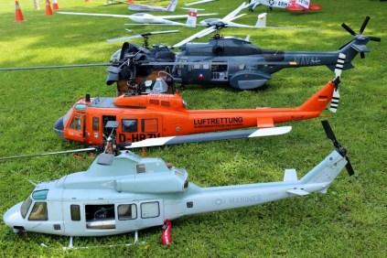 Modelos: Helicópteros planeadores y remolcador del Club de Aeromodelos de Chile (foto: Carlos Ay).
