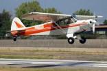 Super Cub: José Tomas García decolando en un vuelo remolcador con el Piper PA-18 CC-KWC (foto: Carlos Ay).