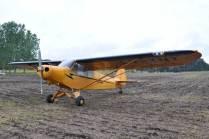 El Piper PA-11 Cub LV-YNT expuesto estáticamente. (Foto: Esteban Brea)