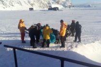 El herido listo para ser evacuado de la Base Antártica Orcadas. (Foto: ARA)