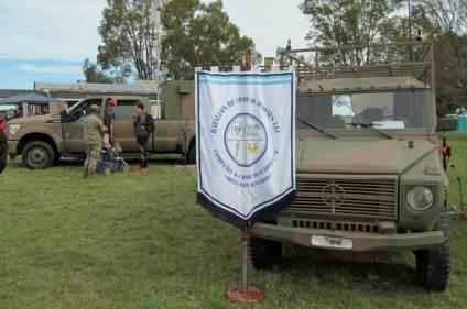 """La Compañía de Comunicaciones A """"Operación Rosario, del Batallón de Comunicaciones 181 del EA estuvo presente con sus vehículos. (Foto: Lorenzo Borri)"""