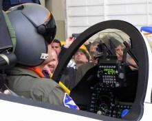 A Flight Tests Centre (Centro de Ensayos en Vuelo) pilot demonstrates the Elbit Targo integrated helmet (photo: Diego Rojo).