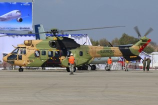 Airbus Helicopters delivered the Chilean Army's latest AS532ALE Cougar on opening day. Arriving the day before, the aircraft was being crewed by French pilotos and retained its French civil tests registration (photo: Carlos Ay).