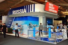 Russia's United Aircraft Corporation exhibited the BE-200 water bomber, the MC-21 airliner and other offerings in their product line (photo: Michel Anciaux).