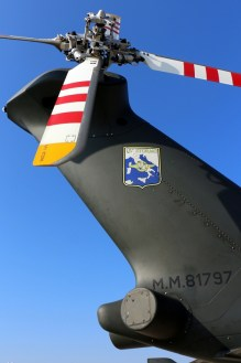 Close-up illustrates tail rotor design, rear-looking electronic support measures and Italian operational markings (photo: Carlos Ay).