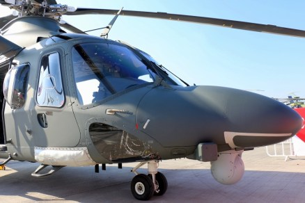 The type's distinctively prominent nose houses the bulk of the AW139M's avionics and also supports FLIR and electronic support measures antennaes (photo: Carlos Ay).