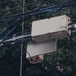 麻布にある電柱に設置されたYOZAN PHS無線機