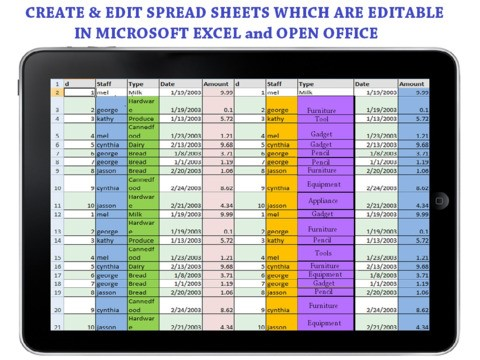 Document Writer Spread Sheets