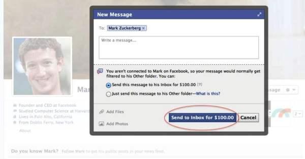 mesaj privat catre patronul facebook costa 100 de dolari