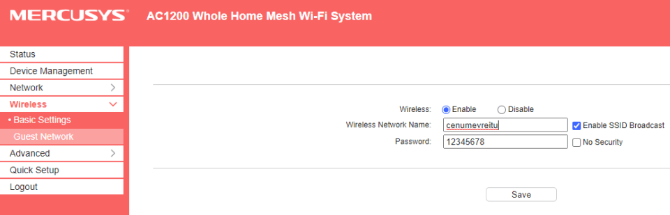 Configurare retea wireless Mercusys Halo S12