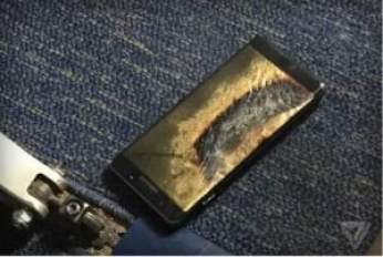 A Replacement Samsung Galaxy Note 7 phone catught fire on a Southwest plane in the USA on Wednesday. Source: Brian Green; The Verge
