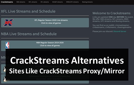 Top 5 Alternatives of Crackstreams | Crackstreams Today NFL NBA MMA – Live Sport on TV