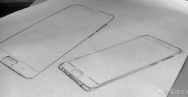 Xiaomi Mi 6 sketch with dual camera