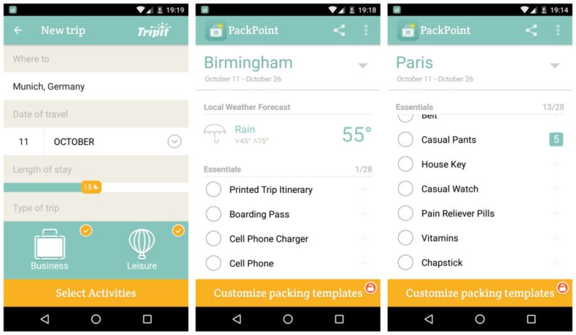Packpoint Travel Packing app