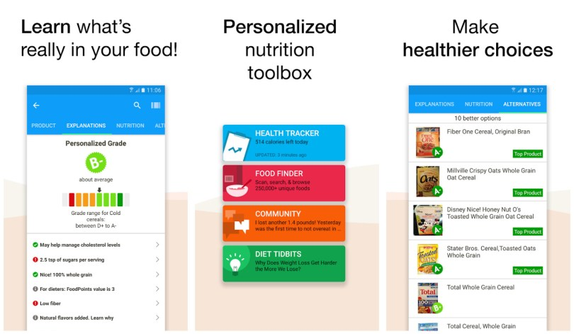 Fooducate health and food app