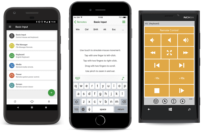 Unified Remote app to remotely control a pc by a phone