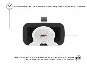 Irusu Mini VR Virtual Reality 3D Glasses with Bigger 42mm HD Optical Resin for Better FOV Compatible with All Smartphones, best vr headset india under 2000