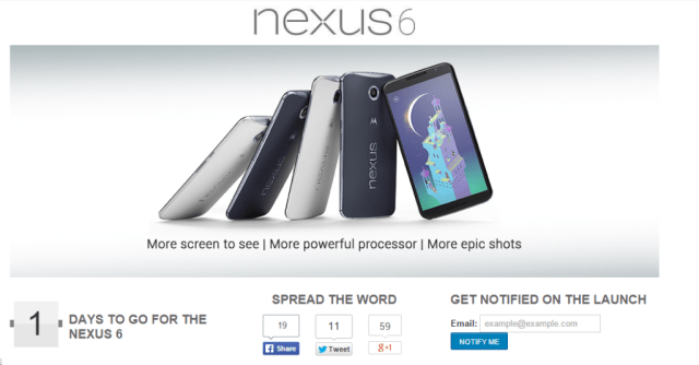 Nexus 6 will be Available in Flipkart from 18th November