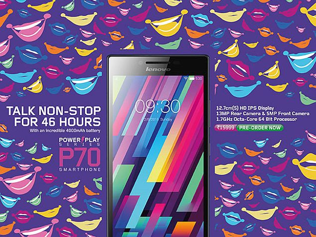 Lenovo P70 With 4000mAh Battery Launched at Rs. 15,999