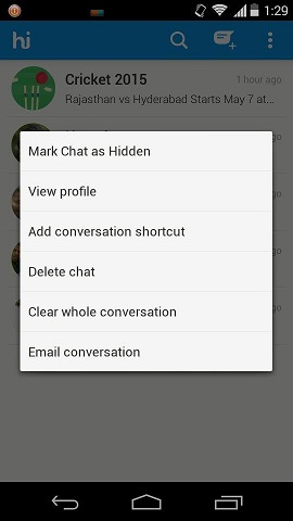 How to hide or lock Personal chats in Hike Messenger