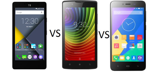 YU Yunique Vs Lenovo A2010 Vs Phicomm Energy 653 comparison