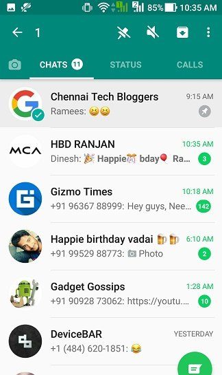 How to pin favourite chats in WhatsApp?