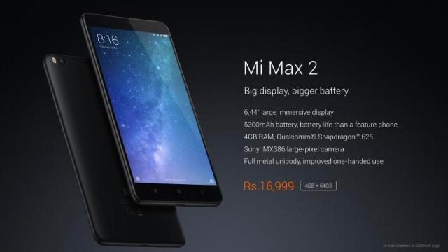 Xiaomi Mi Max 2 launched at India priced at Rs.16,999