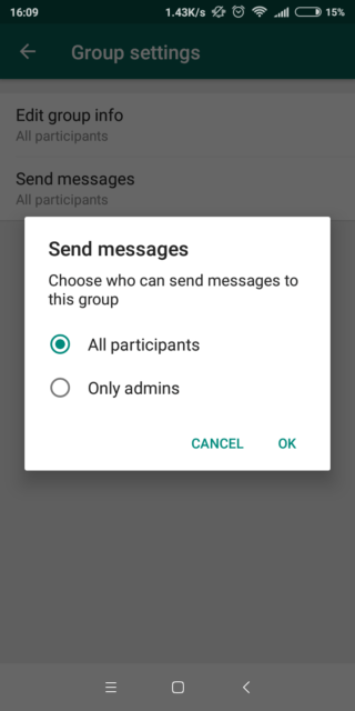 choose who can send the text to the WhatsApp group
