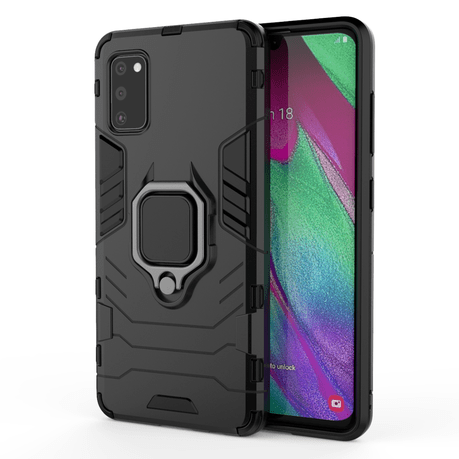 CellTime Galaxy A31 Shockproof Black Panther Magnetic Ring Stand Cover