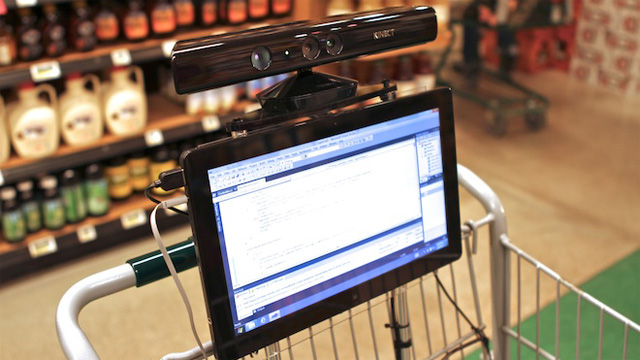 High Tech Trolley Follows You Round Store Kinect Sees To