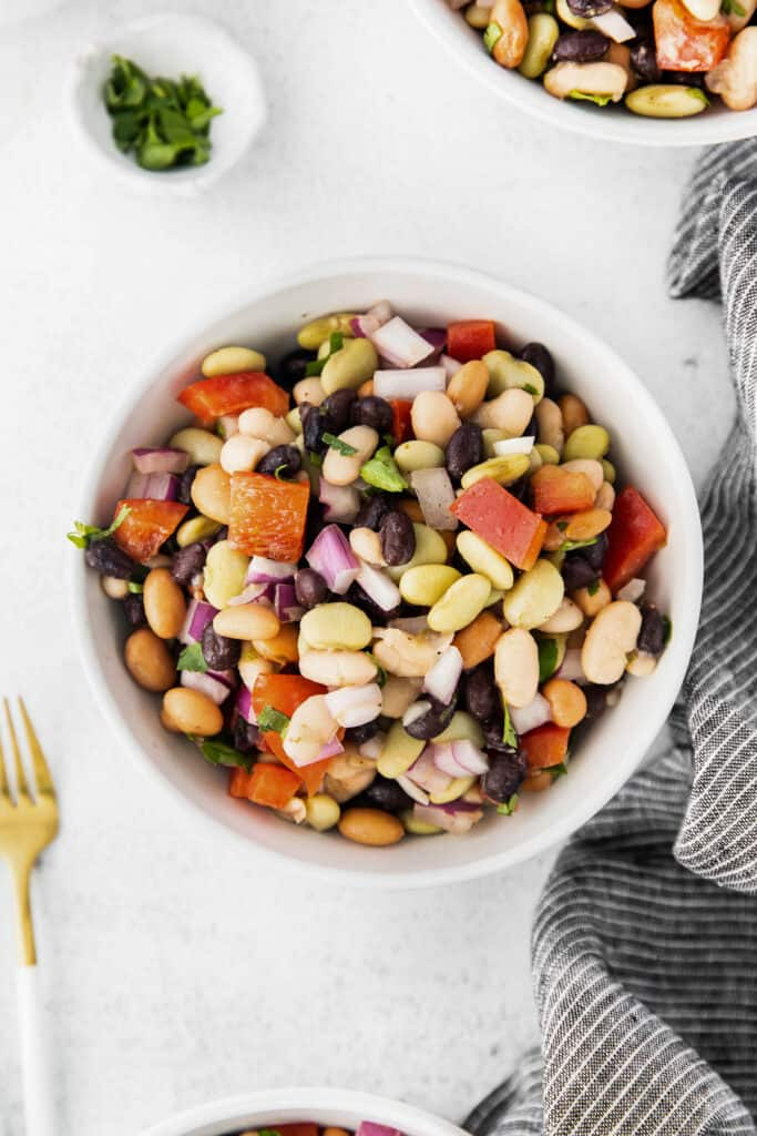 Bean salad in a small bowl.