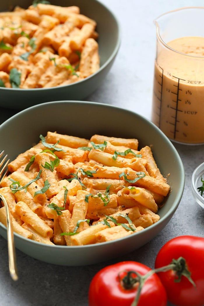 Vegan pasta in a bowl