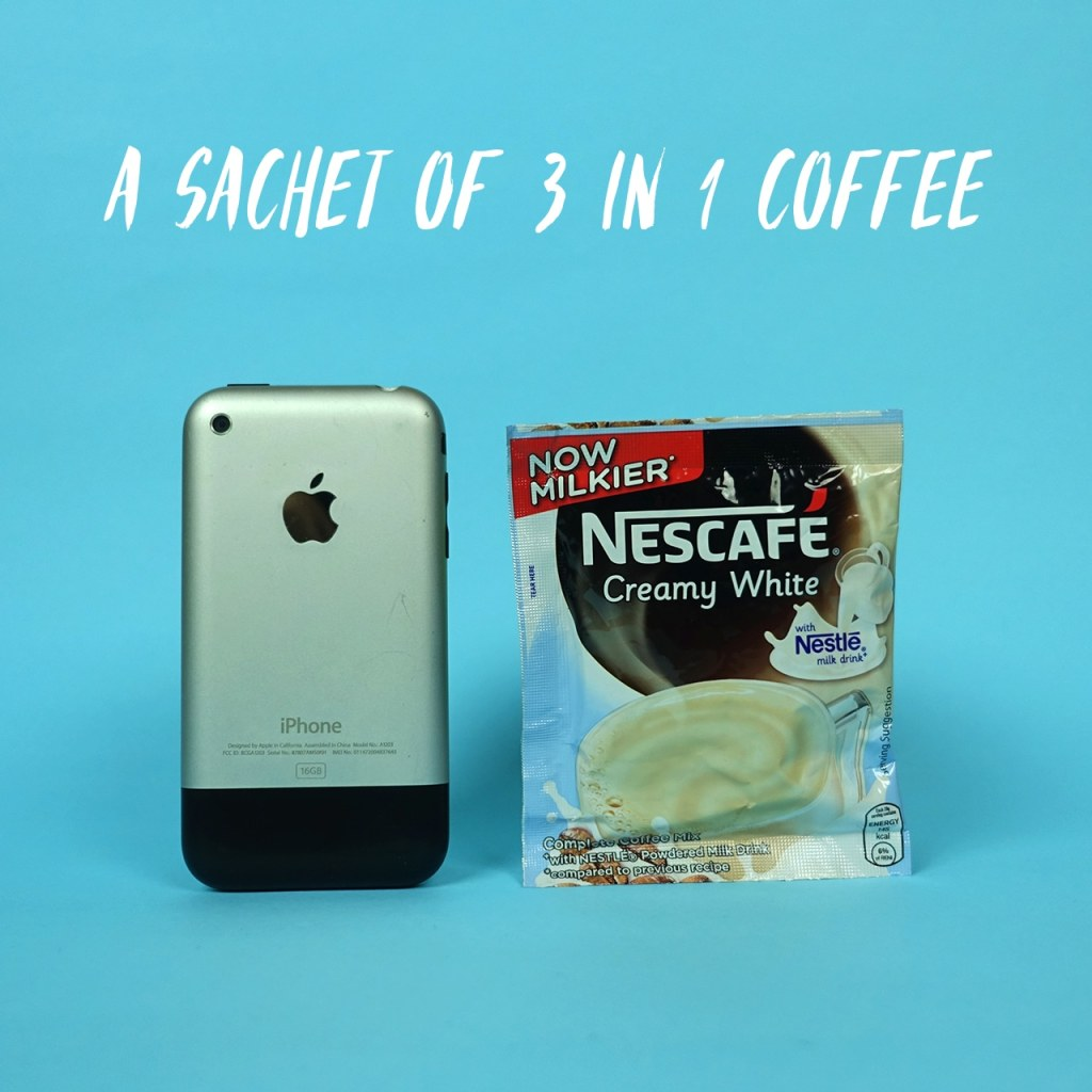 A sachet of 3 in 1 coffee