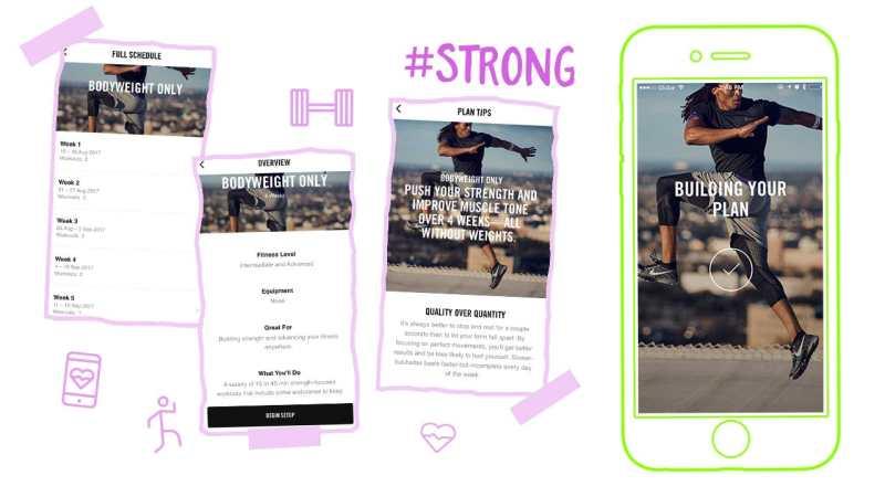 Nike Training Club App creating a workout plan