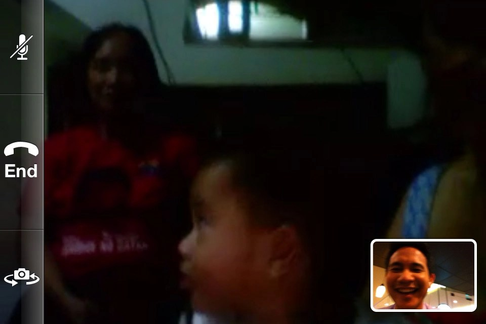 Facetime call with my son and his yaya (Landscape view).
