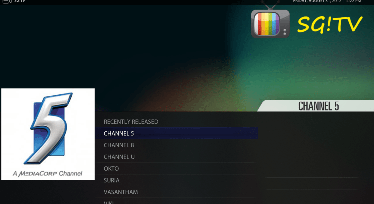 SG!TV – Plugin for XBMC and Plex for Singapore TV