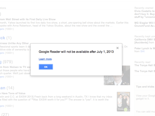 google reader close down 1 jul