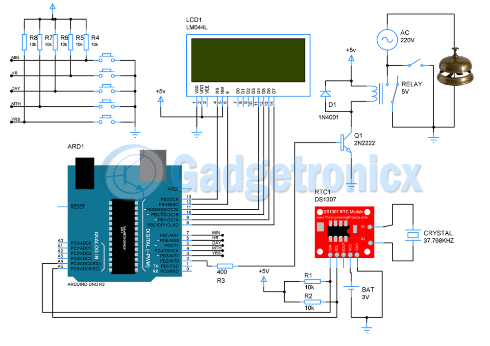 medium resolution of schematic design of automatic school bell system