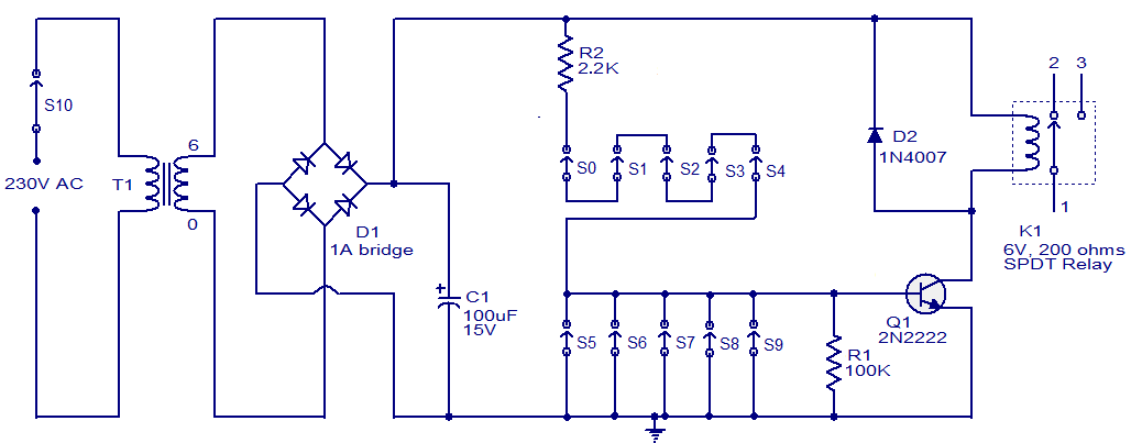 transistor wiring diagram gibson les paul 3 pickup code lock circuit using gadgetronicx