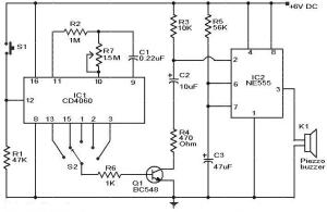 Selective Timer Alarm Circuit using IC 555 & CD4060  Gadgetronicx