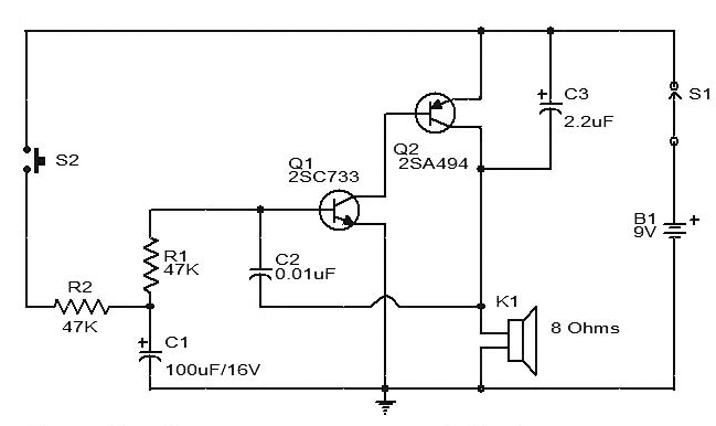 Siren Circuit diagram using two Transistors