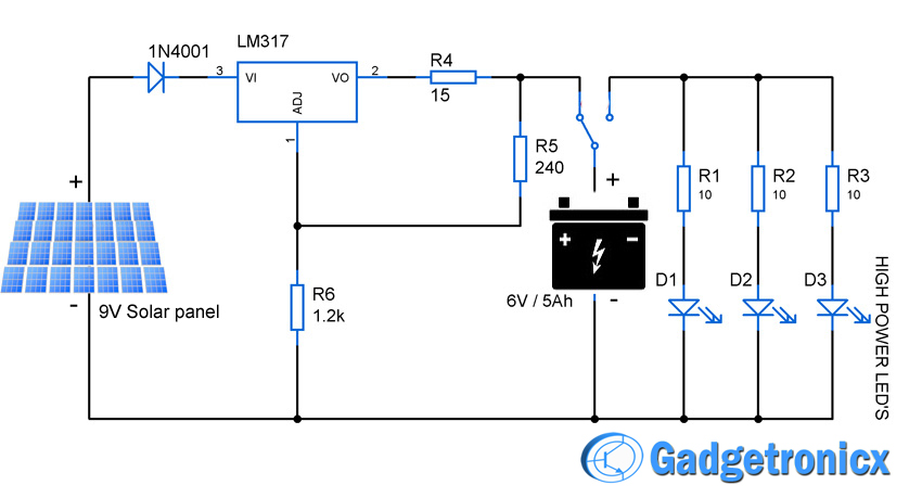 led light circuit diagram for dummies 7 wire solar powered gadgetronicx high power