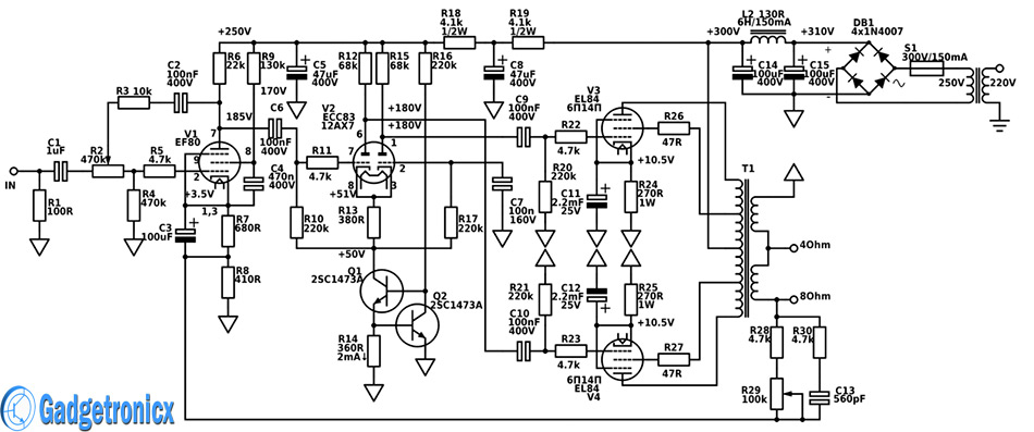 Professional Hi-Fi 15W Tube Amplifier circuit