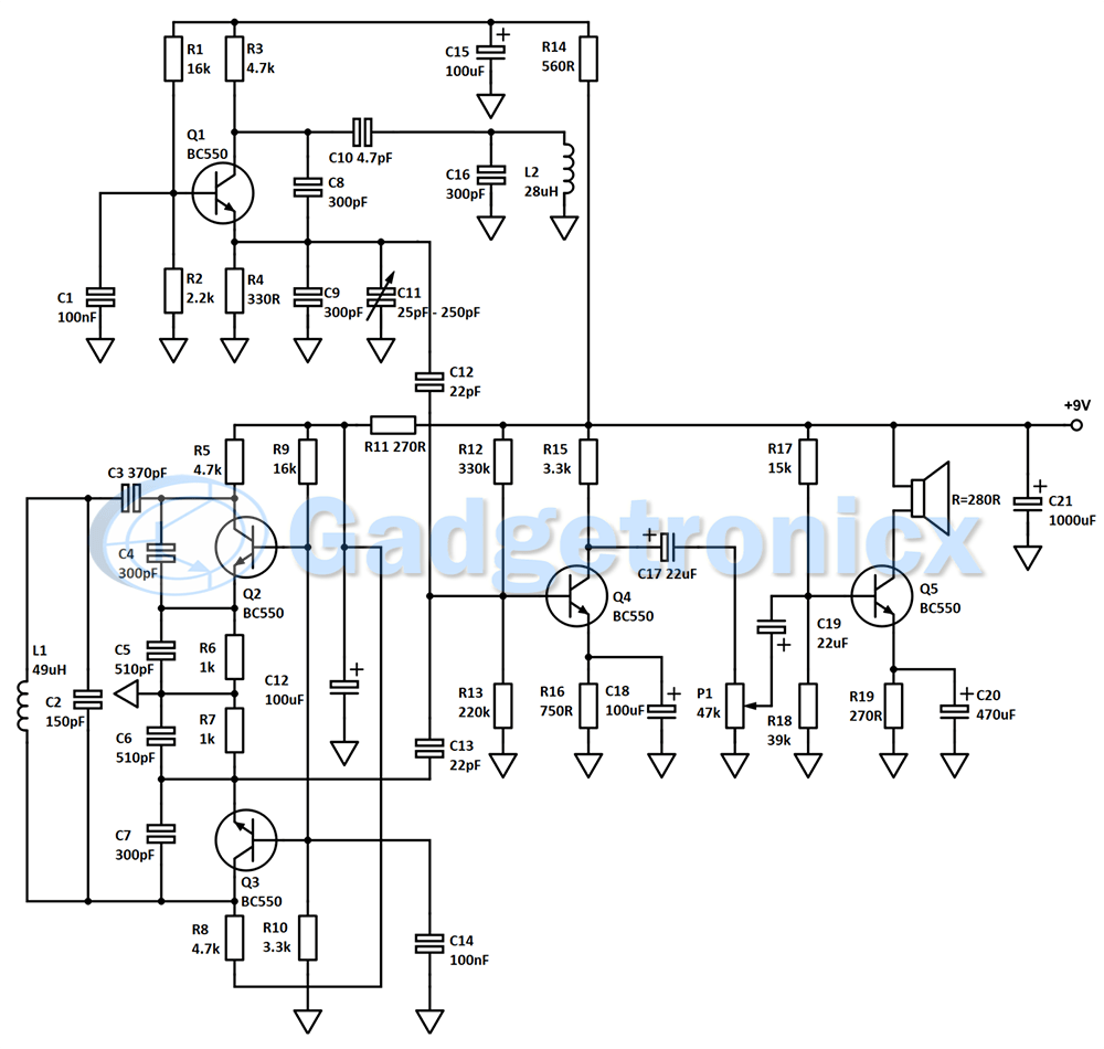 gold detector schematic diagram pictures