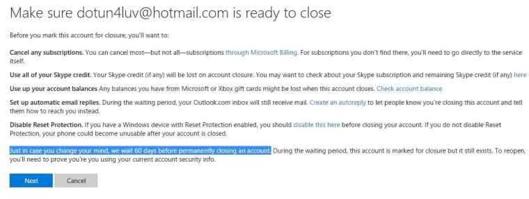 Delete Hotmail Account