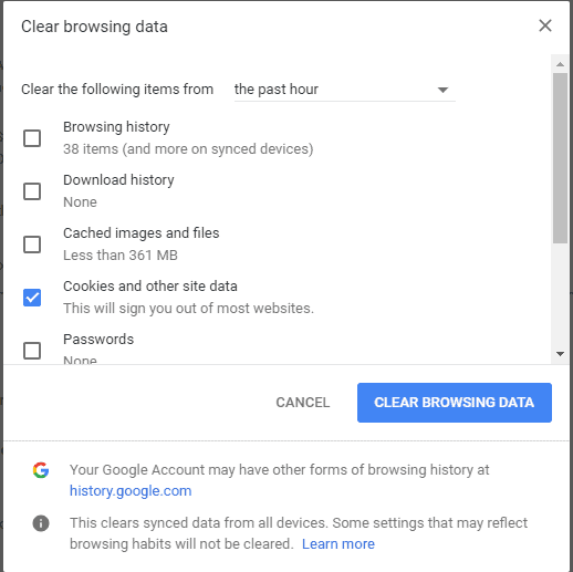 Delete All Google Chrome History