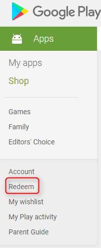 Redeem valid Google store promo codes