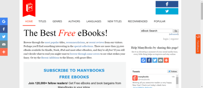 ManyBooks as an alternative to Bookzz